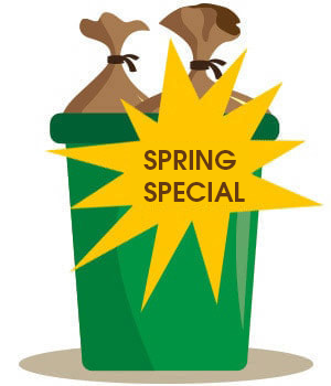A green trash can with Spring Special on it