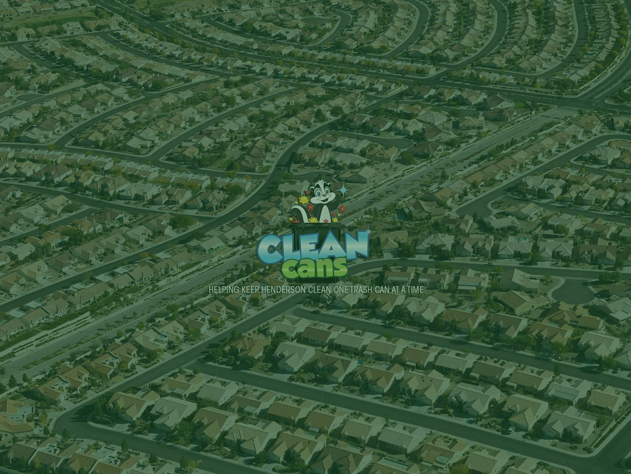 A sky view of a community with Clean Cans Logo in the middle