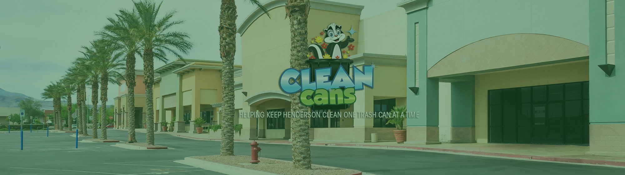 Clean Cans logo with a shopping complex in the background with a green tint