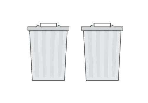 Two trash cans